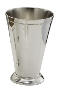 Bicchiere vaso fiori portapenne lucido argentato argento sheffield stile perlinato cm.25h diam.17,3