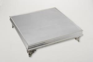 Vassoio torta portadolce argentato argento sheffield quadrato stile Cardinale cm.70x70x11,5h