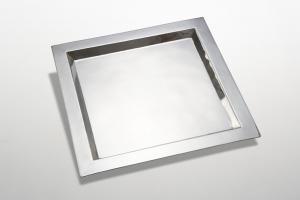 Vassoio quadro stile Cardinale argentato argento sheffield cm.38x38