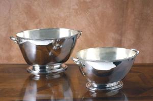 Secchiello ovale bordo cross argentato argento sheffield stile Rubans cm.35x25x20h
