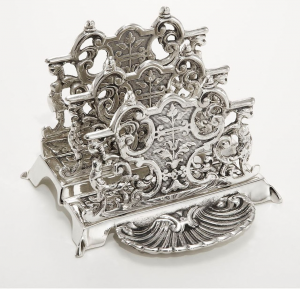 Porta lettere argentato argento in sheffield stile cesellato cm.14,5x15h