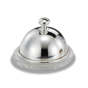 Burriera in vetro con coperchio argentato argento stile Cardinale cm.8h diam.9