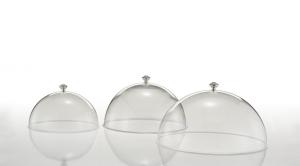 Campana cloche coprivivande in policarbonato con pomello argentato argento sheffield cm.22h diam.37