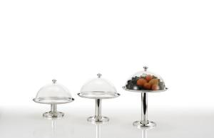 Alzata tonda per dolci argentata argento con campana in policarbonato stile Cardinale cm.33h diam.30