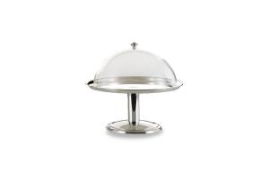 Alzata tonda con pomello argentato argento campana in policarbonato stile Cardinale cm.41h diam.36
