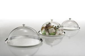 Piatto tondo con campana in policarbonato argentato argento stile Cardinale cm.23h diam.36