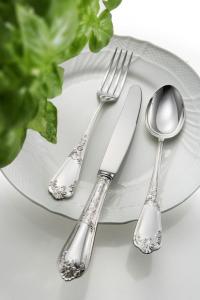 Forchetta tavola stile Floreale epns argentato argento cm.20,5