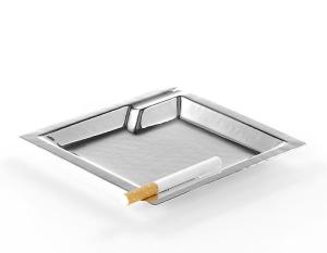 Posacenere argentato argento silver plated quadro cm.14x14x1,5h