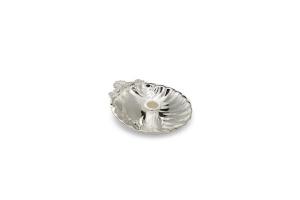 Posacenere conchiglia con spegni sigaretta stile Barocco argentato argento sheffield cm.8,5x7,5x1,8h