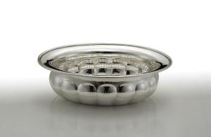 Ciotola ovale battuta stile Barocco argentato argento sheffield cm.38x30x12h