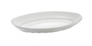 Piatto vassoio da portata in porcellana bianca ovale da forno con falda larga cm.47x33x6h