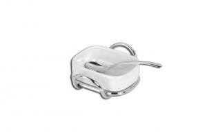 Formaggiera con porcellana e cucchiaio con supprto in acciaio cm.13x10x4h