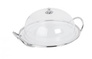 Piatto dolci in porcellana con cupola cloche in policarbonato e supprto in acciaio stile filo cm.14h diam.32