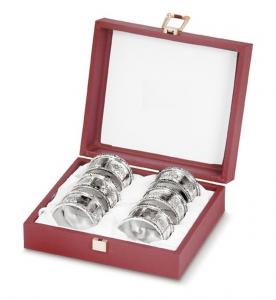 Legatovagliolo 6 pz con scatola stile cesellato argentato argento sheffield cm.diam.5