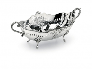 Jatte ovale con manici stile traforato argentato argento sheffield cm.27x18x10h