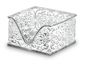 Porta tovaglioli argentato argento sheffield stile traforato cm.19x19x11h