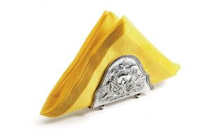 Portatovagliolo argentato argento sheffield stile cesellato cm.12,5x3,5x9h