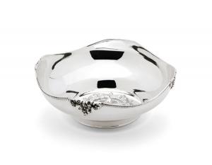 Ciotola tonda argentato argento sheffield con interno inciso stile grappe cm.6,5h diam.17