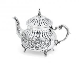 Caffettiera argentata argento sheffield stile cesellato