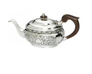 Teiera argentato argento sheffield stile cesellato cm.14h