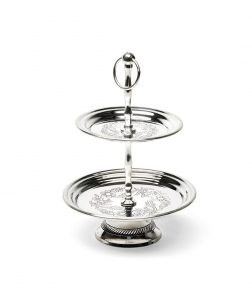 Alzata per dolci e frutta argentata argento sheffield a 2 piani in sheffield stile inciso cm.25h diam.16,5