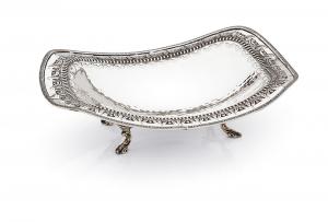 Fruttiera ondulata argentato argento sheffield stile traforato cm.34x26