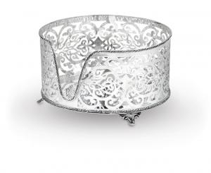 Portapiatti argentato argento in sheffield stile traforato cm.14,5h diam.25