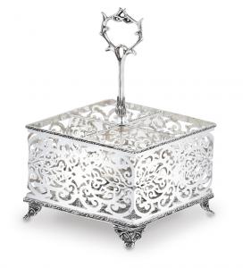 Portaposate argentato argento Sheffield stile traforato cm.19,8x19,8x14,3h