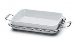 Risottiera argentata argento con porcellana stile Inglese cm.32x24
