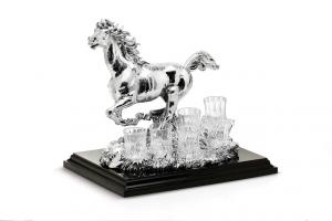 Set da 6 bicchieri vodka con statua cavallo in sheffield argentato argento cm.34x25x35h