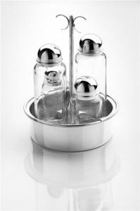 Menage set olio aceto argentato argento cm.diam.15