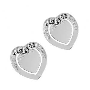 Segnalibro cuore silver plated con decoro set 2 pz cm.4x3,5x0,2h