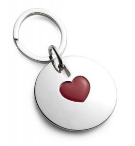 Portachiavi rotondo con cuore rosso in silver plated cm.7,4x4x3h