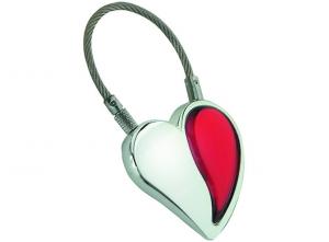Portachiavi con cuore rosso cm.6,5x3,5x2h