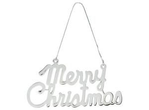 Decoro cromato Merry Christmas cm.13,4x7,2x0,2h