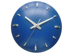 Orologio muro plastica blu cm.6h diam.28,5