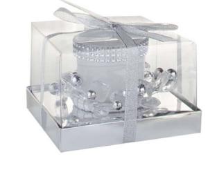 Candela natalizia vetro bianco