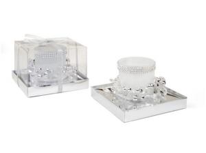 Candela natalizia vetro bianco grande cm.13,5x13,5x9h