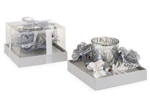Candela natalizia in vetro argento