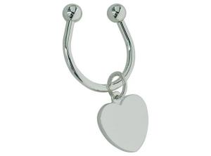 Portachiavi con piastrina cuore silver plated cm.8x4,2x2h