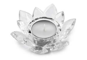 Portacandela in cristallo fiore cm.3,5h diam.10