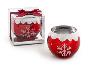 Portacandela fiocco di neve in vetro e cristallo grande cm.9,5h diam.8,5