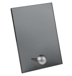 Trofeo vetro pallina golf nero fumo cm.17,5x3x24,5h
