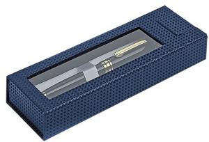 scatola penna blu con finestra penna non inclusa cm.17,7x6x3h