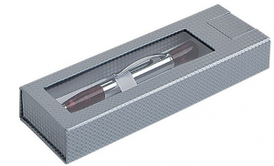 scatola penna con finestra argento senza penna cm.17,7x6x3h
