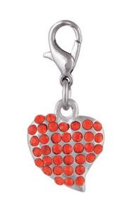 Ciondolo cuore rosso con brillanti cm.3x1,4x0,5h