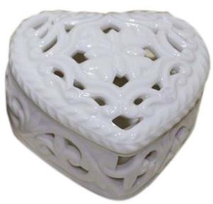 Scatola cuore porcellana cm.7,7x7x4,3h