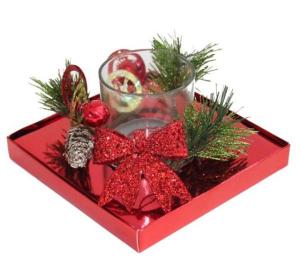 Bicchiere natalizio con candela cm.15,3x15,3x9h