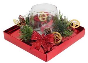 Bicchiere natalizio con candela cm.18,3x18,3x11h