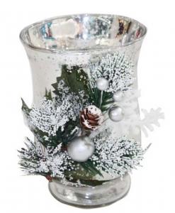 Portacandela di Natale natalizio bicchiere argentato cm.16,7h diam.12,2
